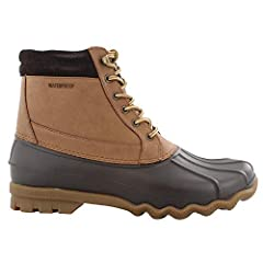 Men's Sperry, Brewster Waterproof Boot Stay dry and warm in these duck boots! Waterproof leather and rubber upper Lace up closure for a secure fit Fabric lining Cushioned footbed for added comfort 1 1/2 inch heel Non marking rubber outsole wi...