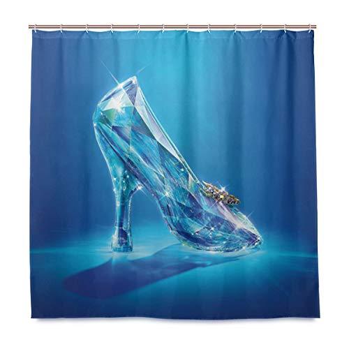(Antokos Cinderella Lost Shoes Shower Curtain Liner Waterproof Polyester Fabric Bathroom Shower Curtain Fabric Shower Curtain 12 Hooks 72 x 72 inches)