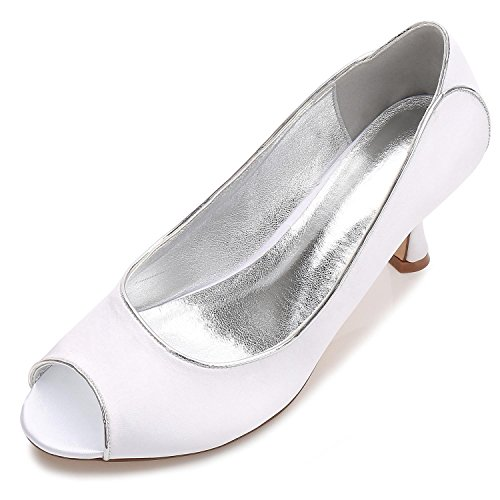 Wedding Boda Silk White Las yc Careers De Peeking amp; 53 Office Party Toe L Zapatos Mujeres T17061 Night 1qPtI18wT