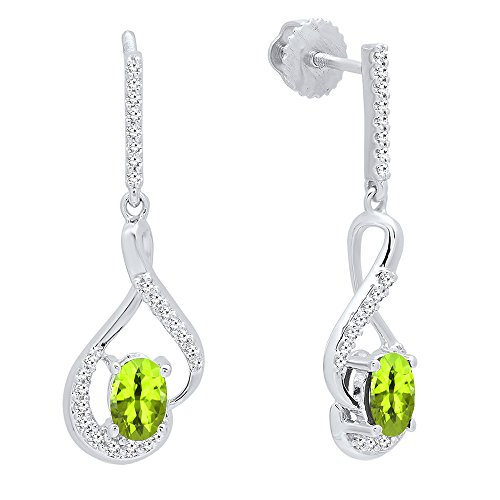Dazzlingrock Collection 14K 6X4 MM Oval Peridot & Round White Diamond Ladies Dangling Earrings, White Gold