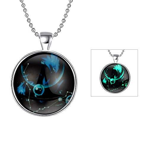 iCAREu Silver Plated Necklace with a Fluorescent Signs of The Zodiac Pendant, - Costume How Biker A To Make