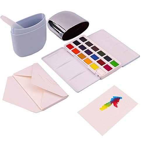 MIYA Solid Water Colors Palette - 18 Assorted Colors with Paint Brush Watercolor Paper Portable Travel for Beginners Artists Students Kids (Blue)