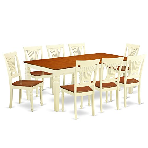 East West Furniture LGPL9-BMK-W 9Piece Dinette Table Set with One Logan Dining Table & 8 Kitchen Chairs in Buttermilk & Cherry Finish