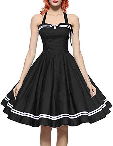 Saslax Women 50s Retro Vintage Halter Coaktail Swing Dress, Black, XX-Large (20 Plus Homecoming Dresses)