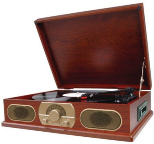 Spectra Studebaker Wooden Turntable with AM/FM Radio & Cassette Player SB6052 by Studebaker