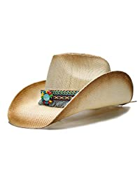 shufang-hats store, Fashion Cowboy Women Straw Hat With Punk Leather Band For Lady Dad Western Sombrero Hombre Cowgirl (Color : Natural, Size : 58cm)