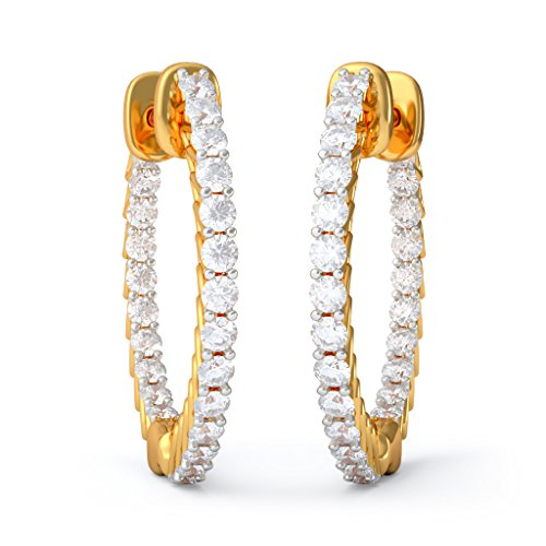 14 K Or jaune 1.06 carat au total White-diamond (IJ | SI) Boucles d'oreilles créoles