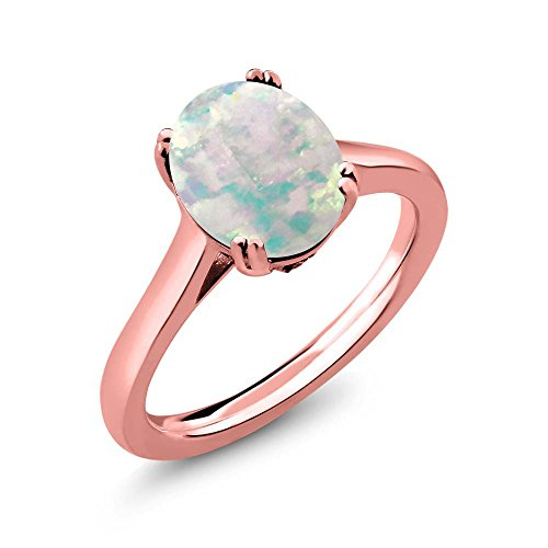 2.03 Ct Oval Diamond (2.03 Ct Oval Cabochon White Simulated Opal White Diamond 18K Rose Gold Plated Silver Solitaire)