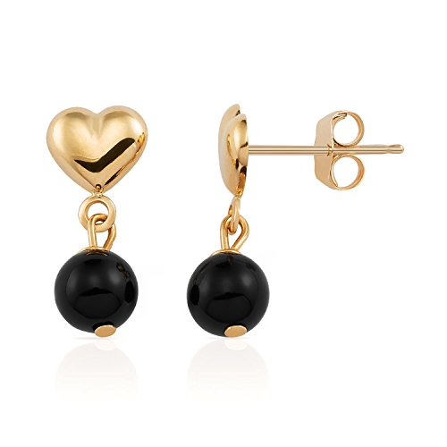 - Beautiful 14K Solid Yellow Gold Heart with Dangling Black Onyx Drop Earrings for Women, Girls and Children