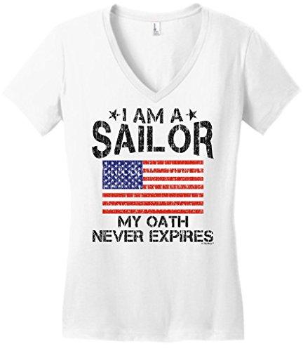 Sailor Gift My Oath Never Expires American Flag Juniors Vneck Large White