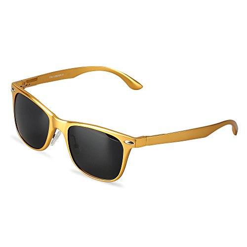Wayfarer Polarized Sunglasses With Gift Box UV Protection Sports Floating Cycling LeadallwayTM(golden frame darkgrey lens)
