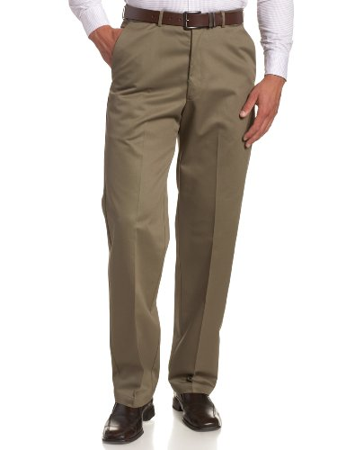 Haggar Men's Work To Weekend Hidden Expandable Waist No Iron Plain Front Pant,Bark,36x30 ()