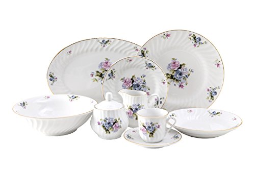 Serafina Dinner Set 45pc with Gold Trim; Vintage Floral