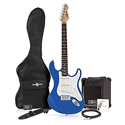 Guitarra Eléctrica LA + Paquete de Amplificador de 10 W Azul