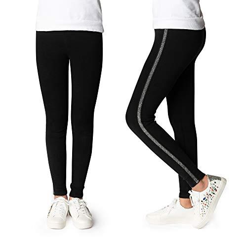 Idlecat Girls Leggings Cotton Size 2-16 Spring/Fall (8T, Black Silver Stipe)]()