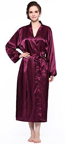 Lavenderi Women's Long Classic Satin Kimono Lounge Bathrobe Robe (XX-Large, -