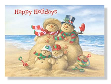 Designer Greetings Red Farm Boxed Christmas Cards Happy Holidays Beach Sand People Snowmen