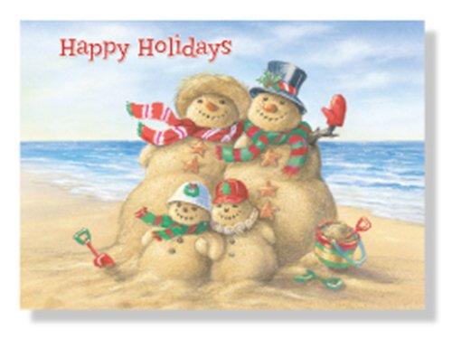 (Designer Greetings 125-00803-000 Red Farm Studio - Boxed Christmas Cards Nautical/Coastal Design; Festive Snowman Family Beach Sand Sculpture)