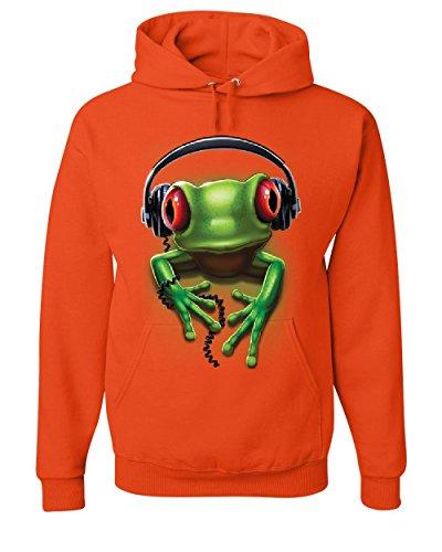 DJ Frog with Headphones Hoodie Cute Animal Music Wildlife Rock Sweatshirt Orange S ()