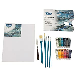 "L.Louise Art Acrylic Paint Set with 5 Brushes, Palette Knife, 11"" X 14"" Stretched Canvas, Tear-Off Palette Pad, 12-20ml Tubes of Acrylic Paint. Includes Free Painting Lesson Video!"