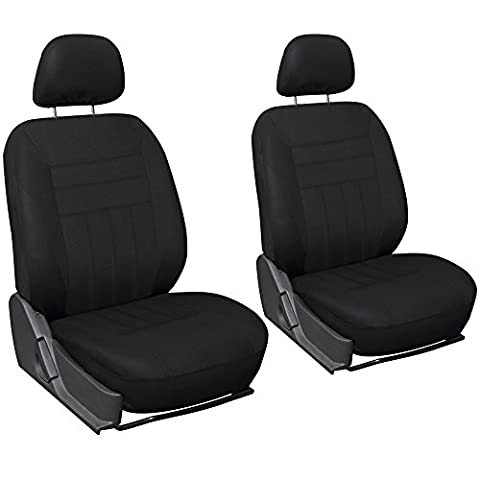 OxGord Flat Cloth Bucket Seat Cover Set for Car, Truck, Van, SUV - Black (2012 Honda Fit Seat Covers)