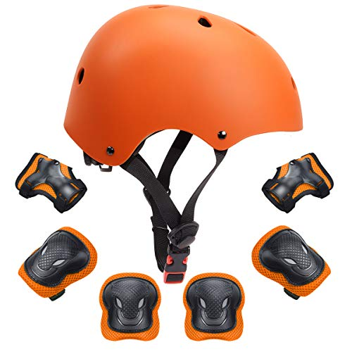 7Pcs Kids Protective Gear Set Kids Helmet Knee Elbow Wrist Pads for Roller Bicycle Bike Skateboard and Other Extreme Sports Activities(Orange)