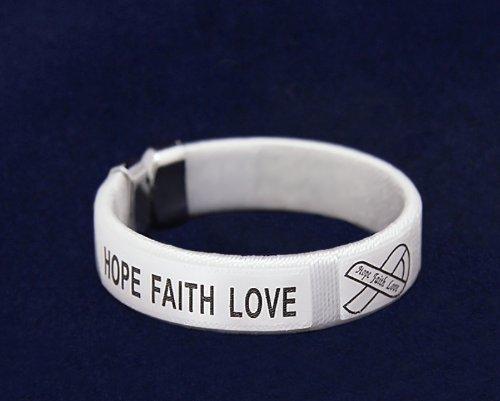 Fundraising For A Cause 25 Pack White Ribbon Fabric Bangle Bracelets - Hope, Faith, Love - Adult Size (25 Bracelets)