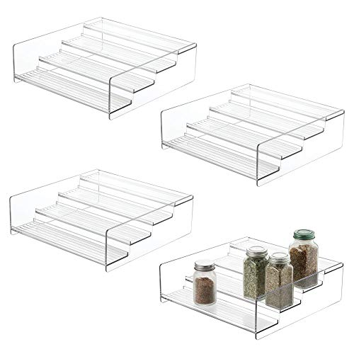 mDesign Plastic Kitchen Spice Bottle Rack Holder, Food Storage Organizer for Cabinet, Cupboard, Pantry, Shelf - Holds Spices, Mason Jars, Baking Supplies, Canned Food, 4 Levels, 4 Pack - Clear