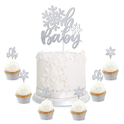 Winter Wonderland Decorations Ideas (Snowflake Oh Baby Cake Cupcake Toppers Winter Baby Shower Silver Glitter Decorations Wonderland Christmas Gender Reveal Party)