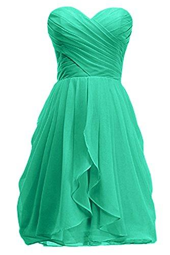 KekeHouse® Brautjungkleid Abendkleid Grün Ballkleid Plissiertes Kurzes Rückenfrei Blumenmkleid Tochter Partykleid Knielanges Mutter SqSpr7
