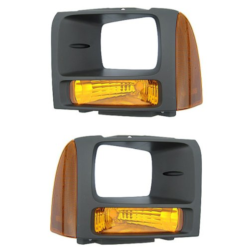 2005-2006-2007 Ford F250 & F350 Pickup Truck Super Duty Headlamp Bezel with Park Corner Light Turn Signal Marker Lamp (Argent for Models with Sealed Beam Headlights) Pair Set Right Passenger And Left Driver Side (05 06 07)