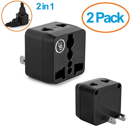 Yubi Power 2 in 1 Universal Travel Adapter with 2 Universal Outlets - 2 Pack Black - Type A for U.S.A., Japan, China, Canada, Mexico, Puerto Rico, Jamaica, Thailand, and - Outlet Costa