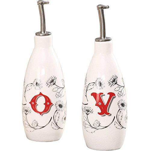 CEDAR HOME Olive Oil Bottle Set Ceramic Dispenser Porcelain Vinegar Cruet 9oz. with Stainless Steel Leak Proof Pourer Spout for Cooking or Salad Dressing, 2 Pack, Farmer Market (Ceramic Oil And Vinegar Cruet)