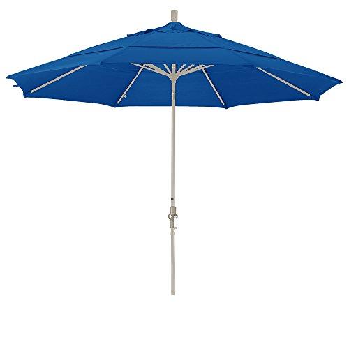California Umbrella 11' Round Aluminum Market Umbrella, Crank Lift, Collar Tilt, Sand Pole, Sunbrella Pacific Blue