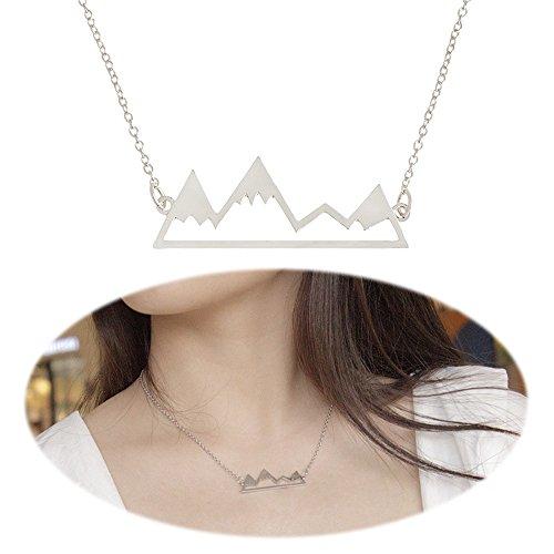 Mountain Necklace Snowy Peak Pendants Dangle Natural Minimalist Choker Collarbone Collar Chain Unique Women Cute Delicate Charms Jewelry Silver Plated