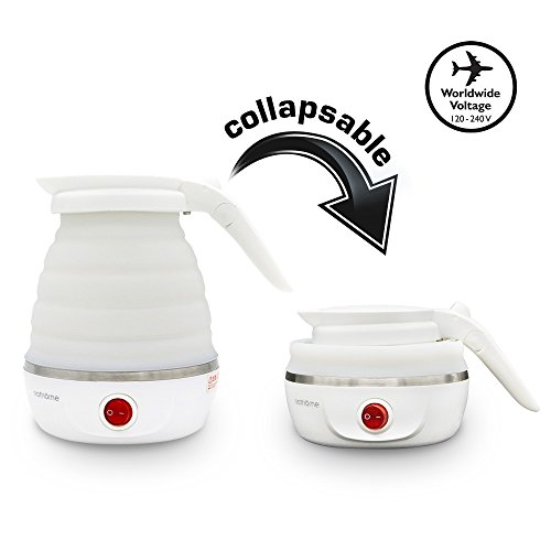Travel Foldable Electric Kettle - Dual Voltage, Fast Water Boiling, Boil-Dry Protection | Small, Collapsible, Portable Kettle |100-120V & 220~240V (600 ML)