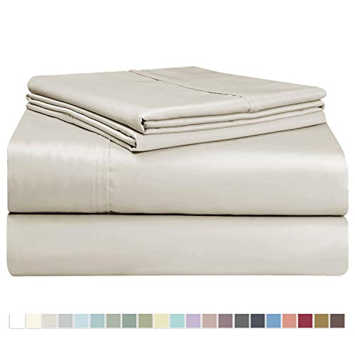 Pizuna 400 Thread Count Cotton Queen Size Sheets Set Beige, 100% Long Staple Cotton Sheets Set, Soft Sateen Best Cotton Bed Sheets Deep Pocket fit Upto 16 inch (100% Cotton Taupe Queen Sheet Set)
