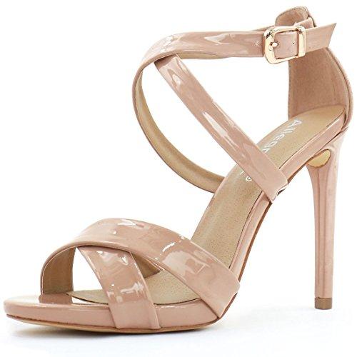 Allegra K Woman Crisscross Strappy Ankle Strap Heels (Size US 6) Dusty Rose