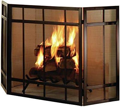 暖炉スクリーン ウッドバーニングストーブ用メタルメッシュカバー、無料立ちスパークガード、と折り畳み式3-パネル暖炉スクリーン