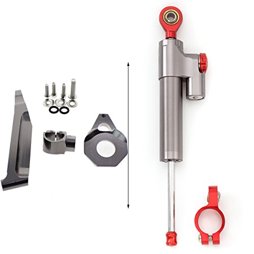 orcycle Steering Damper Stabilizer Bracket Mounting Kit Set Fit Honda CBR600RR 2005 2006 Aluminum Gray&Red (Aluminum Racing Steering Set)