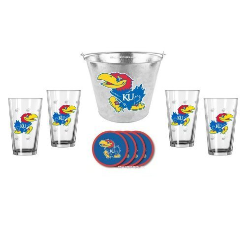 NCAA Kansas - Galvanized Ice Bucket, Pint Glasses (4) & Vinyl Coasters (4) Set | KU Jayhawks Beer Bucket Gift Set (Satin Bucket Etch)
