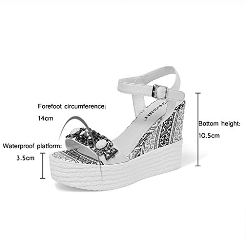 KaiGangHome Sandales à talons compensés strass mode chaussures à plateforme à talons hauts chaussures intérieures hautes avec hauteur 10.5cm (4.1inch) (Color : Pink, Size : 39) Pink