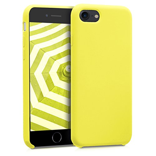 kwmobile TPU Silicone Case for Apple iPhone 7/8 - Soft Flexible Rubber Protective Cover - Neon Yellow
