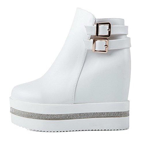 AgooLar Women's Round-Toe High-Heels Solid PU Zipper Boots White xsxkFkSxcC