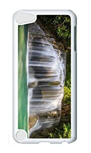 Ipod 5 Case,MOKSHOP Awesome forest trees waterfall Hard Case Protective Shell Cell Phone Cover For Ipod 5 - PC White