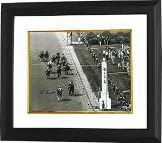 Secretariat signed 1973 Kentucky Derby Horse Racing 16X20 Photo Vintage B&W Finish Line Custom Framed- Steiner Hologram