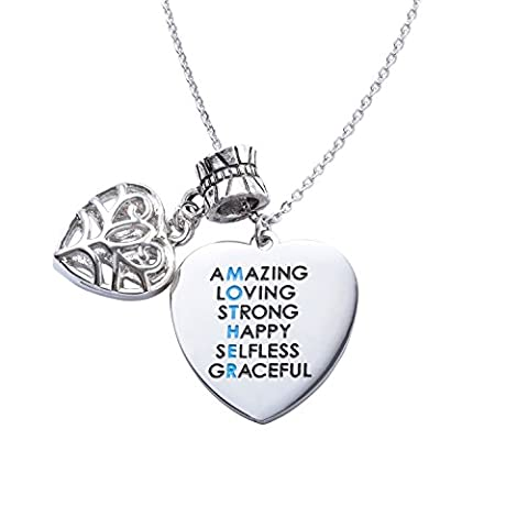 ELOI Mother's Day Gift Amazing Mom Stainless Steel Necklace Heart Charm Pendant Jewelry - Mom Jewelry