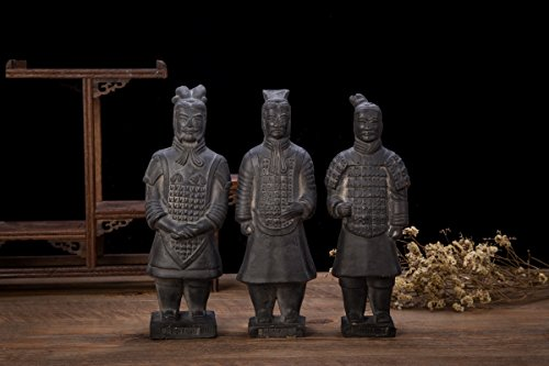 Set Of 3 Antique Reproduction Qin Dynasty Terra cotta Warrior Collectible Statuette Miniature 22CM by THY COLLECTIBLES