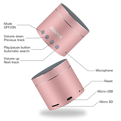 Bluetooth Speakers SEALVIA Wireless Speaker Mini size with Enhanced Bass and Noise-Cancelling Microphone for iPhone6/6S/7/7S android phone iPad Samsung Nexus HTC Laptops (more colors) KT8 (Rose Gold) by SEALVIA (Image #2)