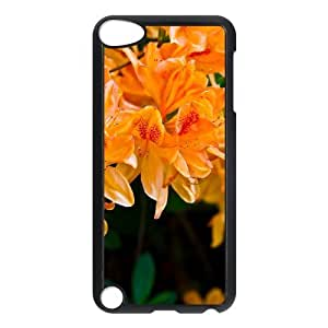 For Iphone 5C Phone Case Cover Light Orange Flowers Hard Shell Back Black For Iphone 5C Phone Case Cover 303769